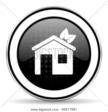 house icon, black chrome button, ecological home symbol