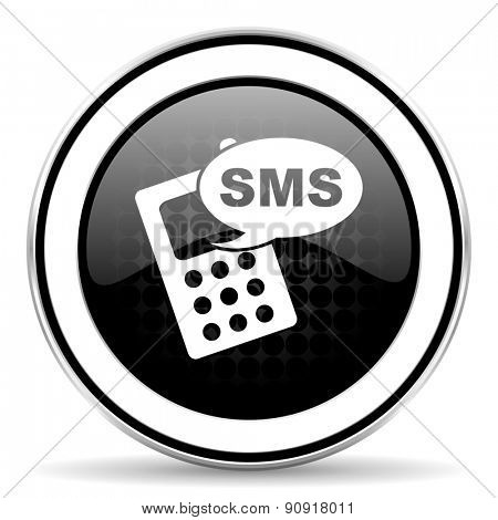 sms icon, black chrome button, phone sign