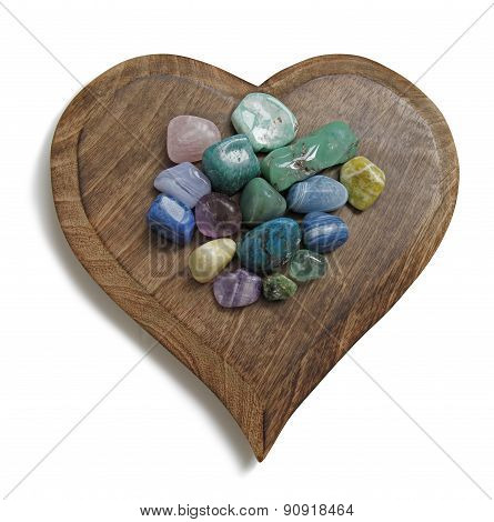 Chakra Crystal tumbled stones on wooden heart plaque