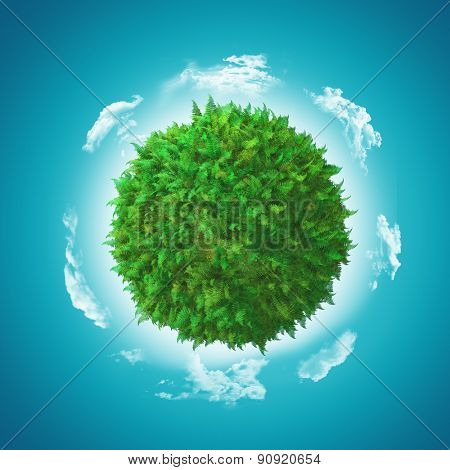3D render of a globe with fern and grass with clouds