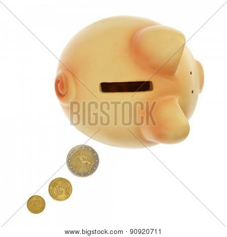 Piggy bank with coins forming a text bubble isolated on white
