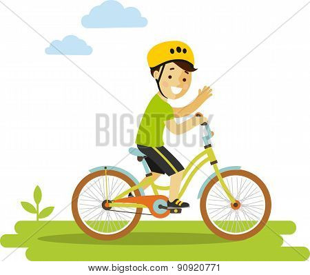 Happy little boy riding bikes isolated on white background in flat style