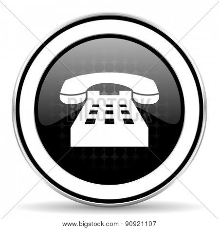 phone icon, black chrome button, telephone sign