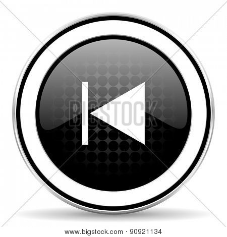 previous icon, black chrome button