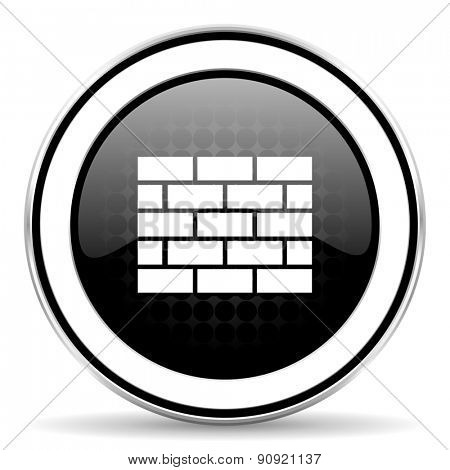 firewall icon, black chrome button, brick wall sign