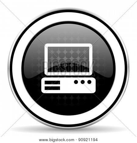 computer icon, black chrome button, pc sign