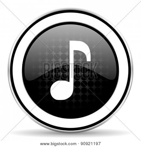 music icon, black chrome button, note sign