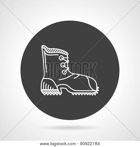 Hiking shoe black round vector icon