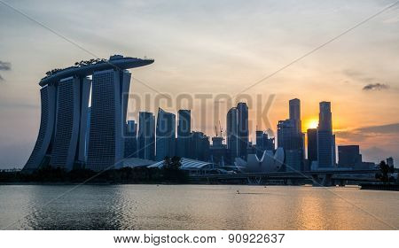 Cityscape of Singapore city downtown skyline skyscraper at dusk
