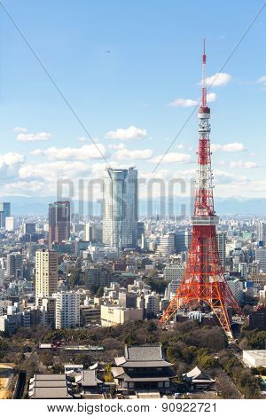 Aerial view Tokyo Tower cityscape Japan
