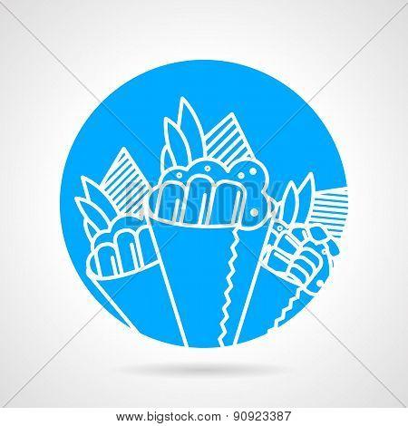 Temaki blue round vector icon