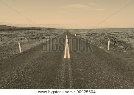 Road to nowhere - Iceland, retro color