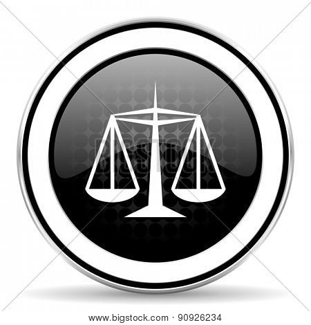 justice icon, black chrome button, law sign