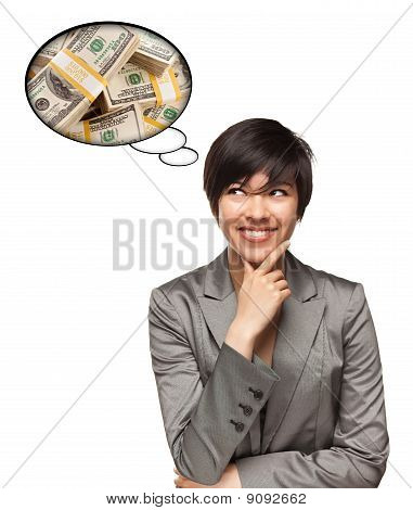 Beautiful Multiethnic Woman With Thought Bubbles Of Money Stacks