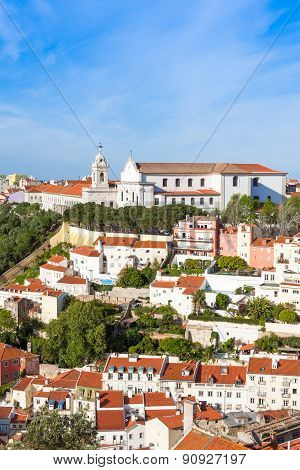 Miradouro Da Graca From Sao Jorge Castle In Lisbon, Portugal