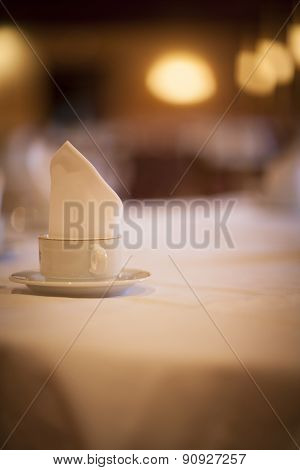 Coffee Tea Cup On Wedding Marriage Reception Table
