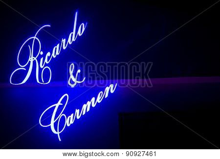 Names Of Wedding Bride And Bridegroom Projected On Wall