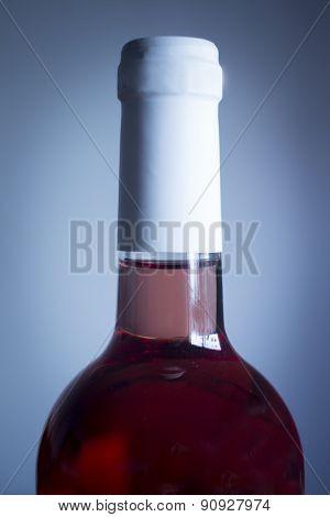 Rose Wine Bottle Studio Isolated Close-up Plain Blue Background