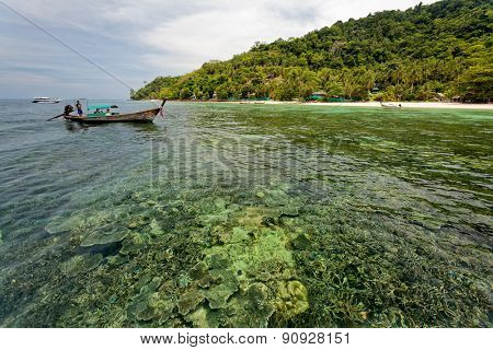PHUKET, THAILAND - APRIL 15, 2008: Tourist visit the islands off Phuket and explore the coral reefs and snorkel in the shallow waters. Tourism is an important industry in Phuket, Thailand.