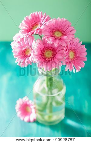 beautiful pink gerbera flowers bouquet in vase
