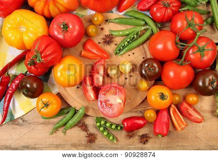 Ripe vegetables on wooden table