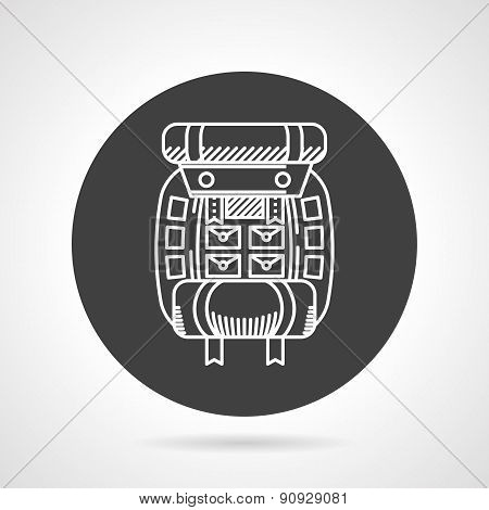Hiking rucksack black round vector icon