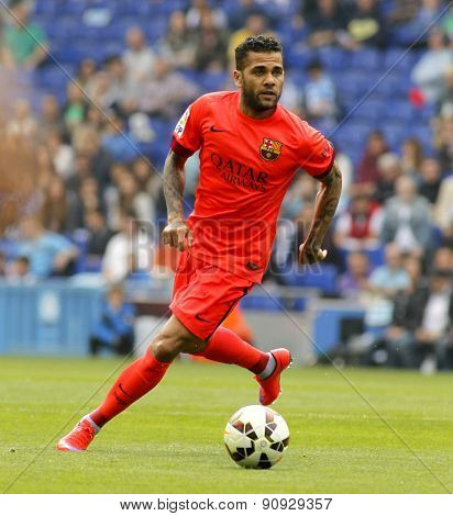 BARCELONA - APRIL, 25: Dani Alves of FC Barcelona during a Spanish League match against RCD Espanyol at the Power8 stadium on April 25, 2015 in Barcelona, Spain