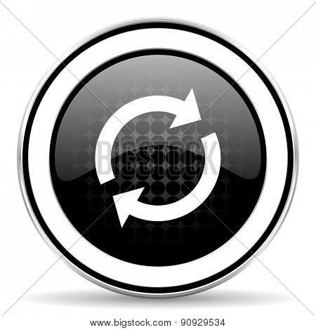 reload icon, black chrome button, refresh sign