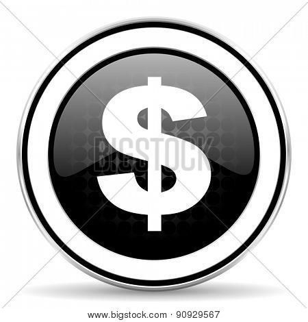 dollar icon, black chrome button, us dollar sign