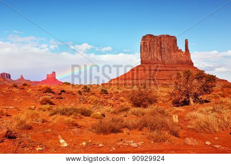 Magical landscape Monument Valley in Arizona. Famous rock -