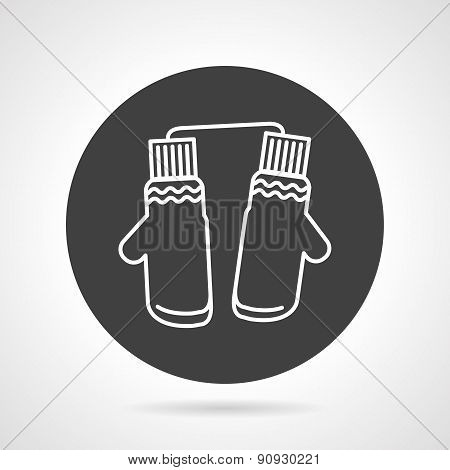 Mittens black round vector icon