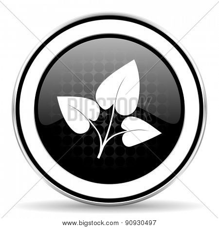 leaf icon, black chrome button, nature sign