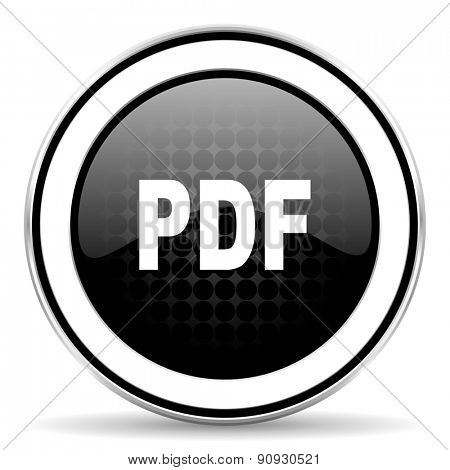 pdf icon, black chrome button