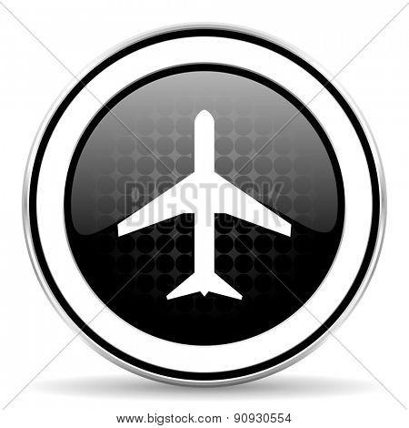 plane icon, black chrome button, airport sign