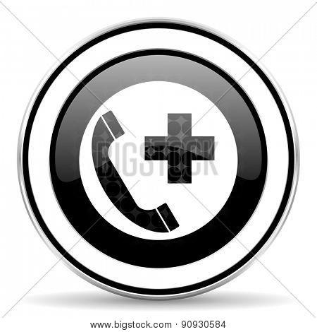 emergency call icon, black chrome button