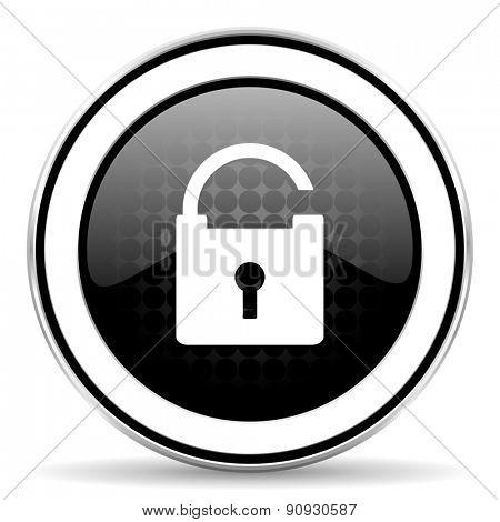 padlock icon, black chrome button, secure sign
