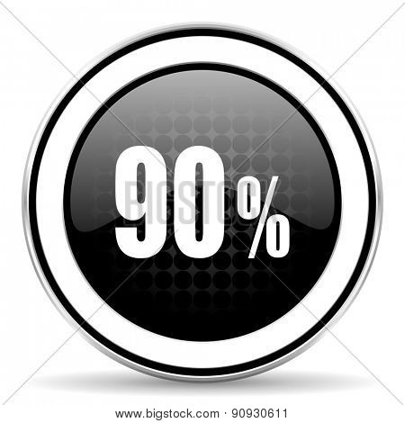 90 percent icon, black chrome button, sale sign
