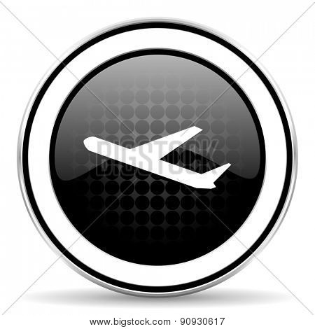 departures icon, black chrome button, plane sign