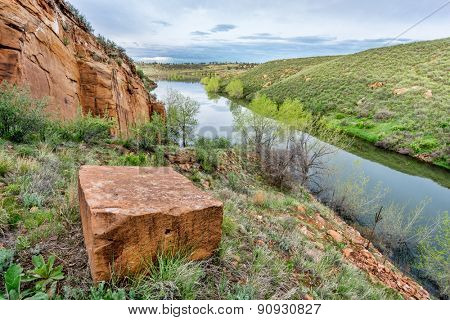 sandstone block and old sandstone quarry on lake shore - Horsetooth Reservoir, Fort Collins, Colorado