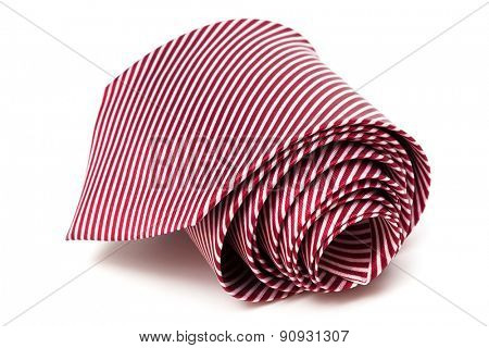 folded necktie on a white background