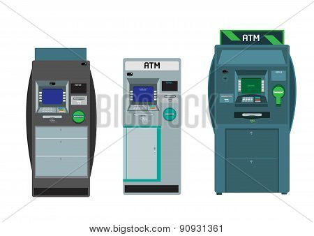 Flat design ATM or Automated Teller Machines