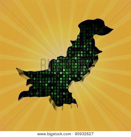 Pakistan sunburst map with hex code illustration