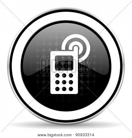 phone icon, black chrome button, mobile phone sign
