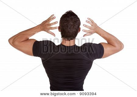 Man From Back Hands Up