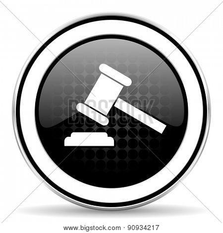 auction icon, black chrome button, court sign, verdict symbol