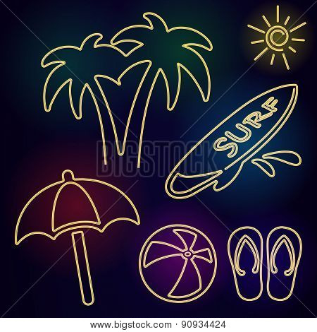 Vector Neon Beach Icons