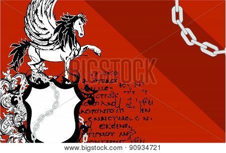 heraldic pegasus coat of arms card