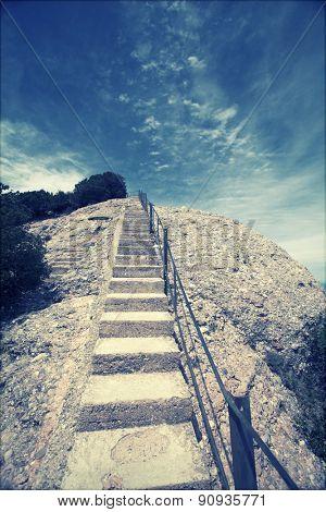 Stairway to heaven - stairway and deep blue sky