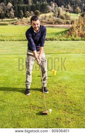 Smiling Golf Player