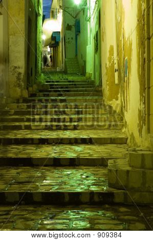 Wet Stairs In Arabian Medina By Night